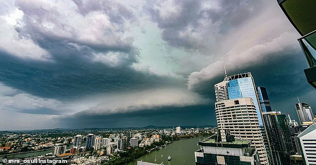 Grey clouds are seen in Brisbane, Queensland, as severe storms lash the city
