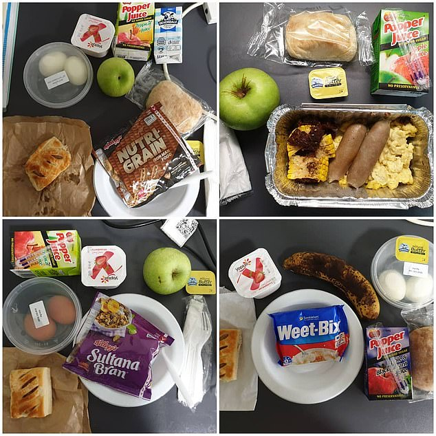 One person quarantining at the NT site shared photos of his breakfast meals which included cereal, fruit, sausages and bread rolls