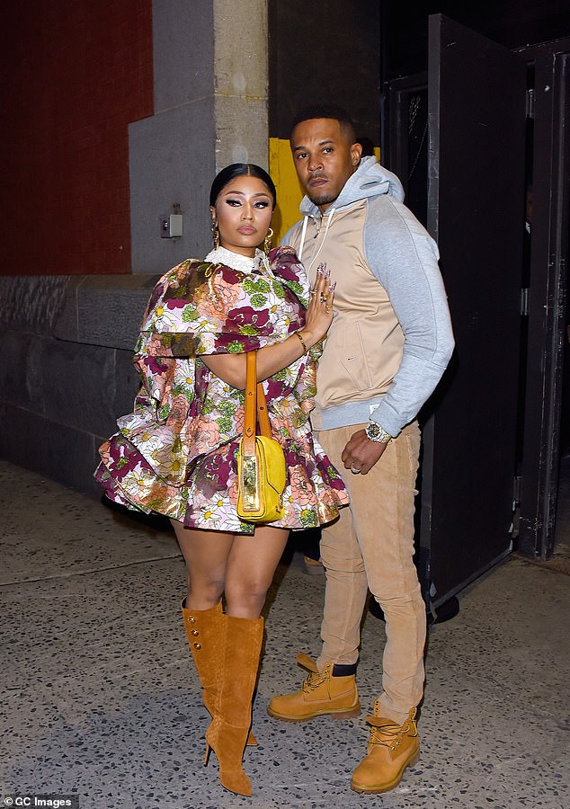 Going solo for now: The rapper welcomed a baby boy with her husband Kenneth Petty on September 30; shown in February in NYC