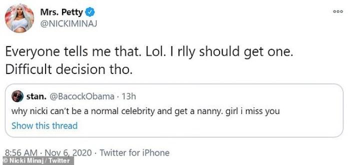 'Decisión difícil': La rapera, de 37 años, reveló que aunque sus allegados le aconsejan que piense en contratar ayuda, hasta ahora ha optado por no hacerlo, porque cree que es una 'decisión difícil'