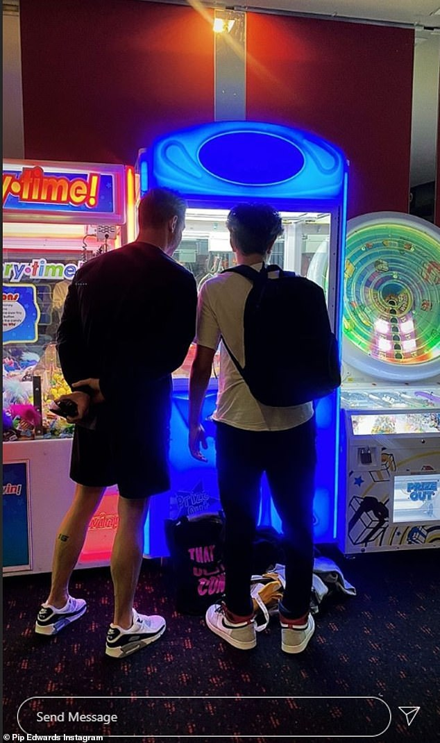 Adorable!The trio headed for a trip to the arcade on Saturday, as Pip, 40, shared sweet pics of her two loves attempting to win a prize on a crane machine on her stories