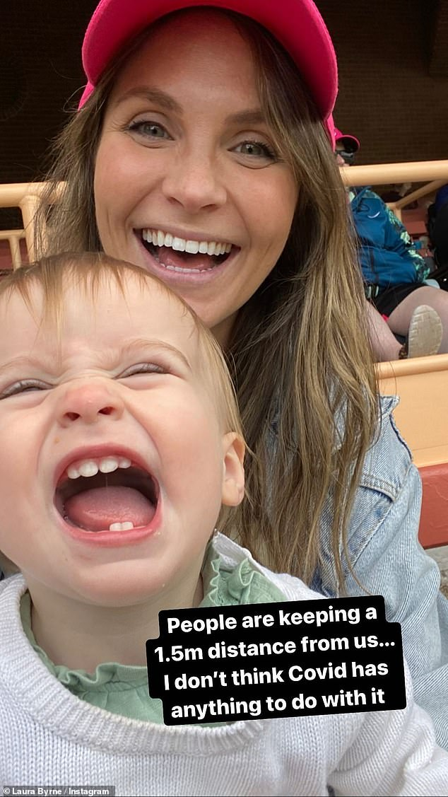 Too cute:'People are keeping a 1.5metre distance from us... I don't think COVID has anything to do with it,' Laura hilariously captioned a photo of a giggling Marlie after tasting some sugar