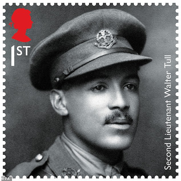 Despite the racist abuse Tull had suffered as a footballer, he quickly rose through the ranks to become an officer, dying a hero's death on the battlefields before being remembered on a First World War centenary stamp (pictured) in 2018