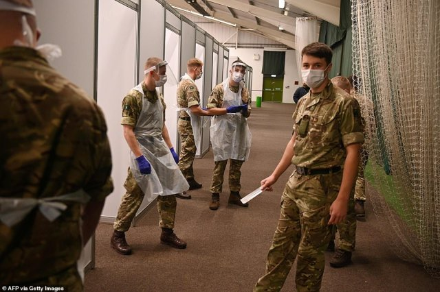 Soldiers prepare to swab Liverpudlians at a testing centre in Liverpool today. The city was at the centre of the UK's second wave, and is the first place to be offered a mass screening programme for the entire population