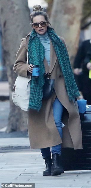 Pregnancy style: Kara, who is six months pregnant, looked effortlessly chic in her autumnal ensemble