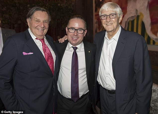 Loves Bazza! Sir Michael also named actor Barry Humphries as a favourite. Barry is pictured left with Sir Michael (right) and Alan Joyce (centre) in 2018
