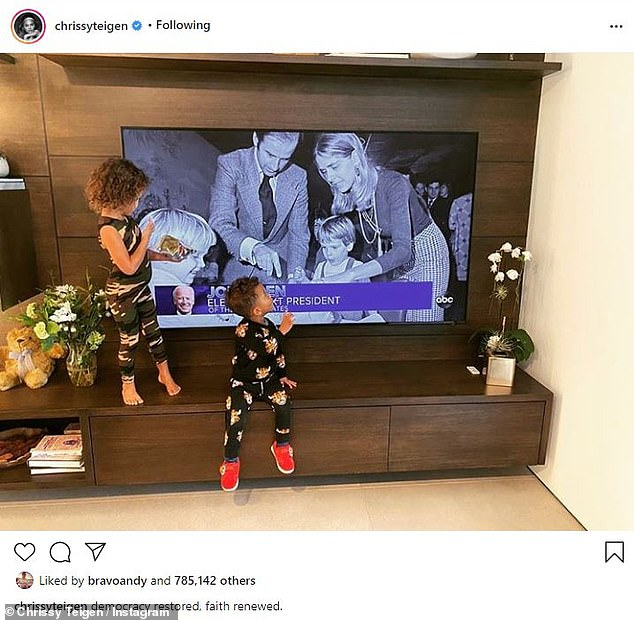 Breaking news: She shared a photo on Instagram of her daughter Luna Simone, four, and son Miles Theodore, two, standing in front of the television as the results were announced.