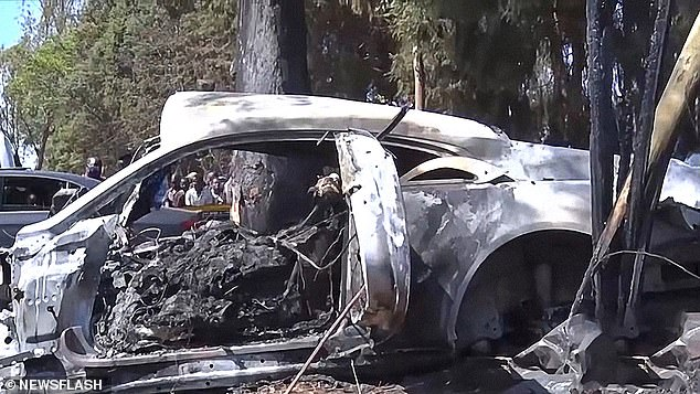 Hours before the crash, Kadungure posted a video on social media showing him getting into his car to get to the nightclub for the evening.  In the photo: the burnt wreckage of the car