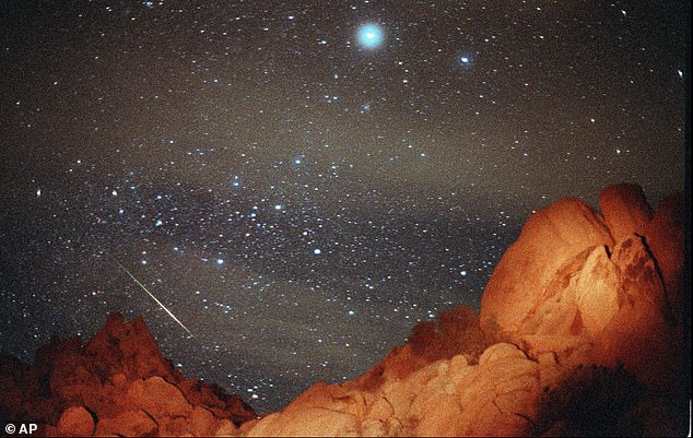 The Leonid meteor shower is set to put on a display that is out of this world next week, with one meteor streaking across the sky every five minutes during its peak. Pictured is the event appearing overJoshua Tree National Park in 1998