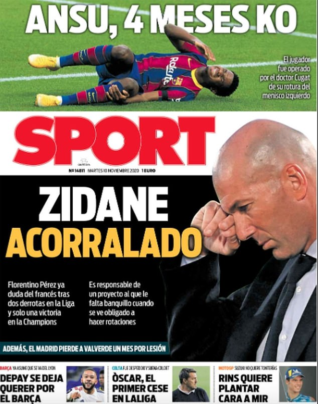 The front page of SPORT newspaper on Tuesday carries the headline: 'Zidane is cornered'