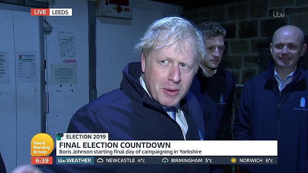 Boris Johnson was in Pudsey, West Yorkshire, this morning, but refused to appear live on GMB as he went on a milk round in a marginal constituency