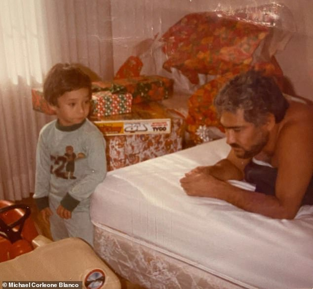 Michael exclusively revealed graphic details of being a child and seeing his father assassinated, possibly on his mother's orders. Toddler Michael is pictured with his father Dario Sepulveda