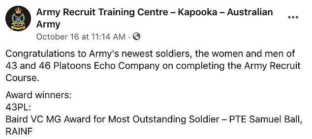 Top of the class! Sam's received the Most Outstanding Soldier award upon graduating the course, according to a post on the Army Recruit Training Centre - Kapooka Facebook page