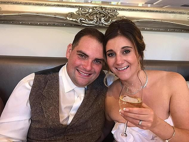 Daniel Appleton, 38, had admitted killing but denied the murder in February. Pictured with his wife Amy Appleton on their wedding day in 2018. The court heard they were happily married