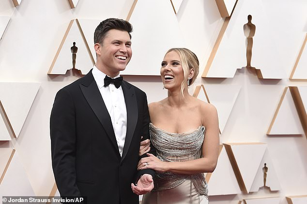 All smiles: The couple first met in 2017 during Johansson's SNL appearance, with Jost offering in 2019 an 11-karat brown diamond valued at $ 400,000;  photographed at the Oscars February 2020