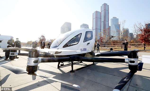 The aerial drones will slash travel times on trips within the Seoul urban area by up to 70%