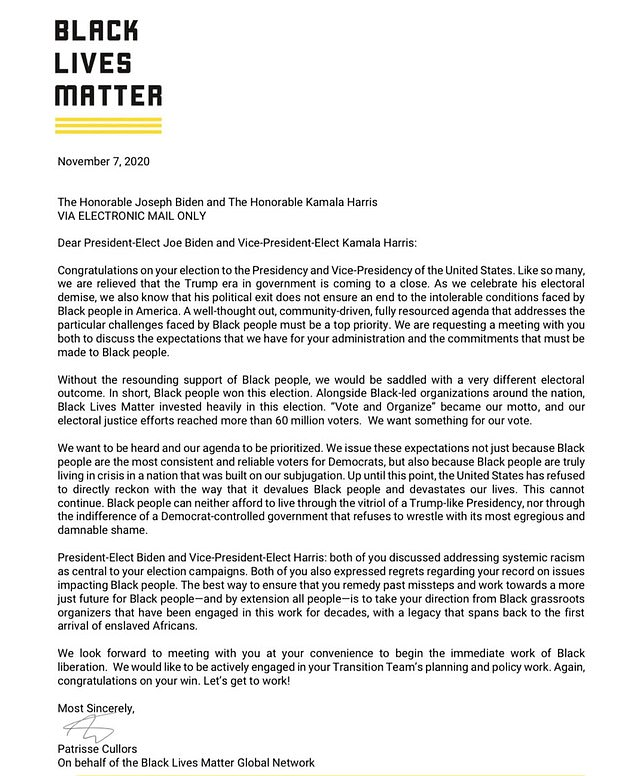 Black Lives Matter co-founder Patrisse Cullors requested a meeting with Joe Biden and Kamala Harris in a letter sent on November 7 to discuss the movement's agenda and how they want reform to take place under the new administration