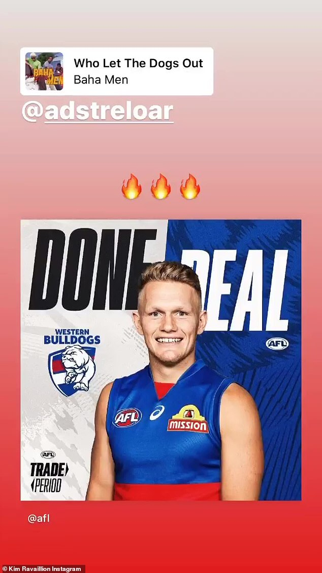Adam Treloar's wife posted a Instagram story regarding his move to the Western Bulldogs