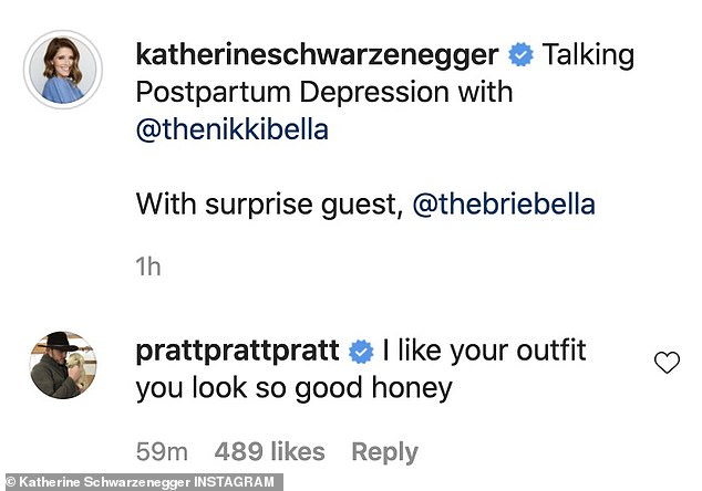 So sweet:Katherine's husband Chris Pratt who is the father of her baby warmly commented: 'I like your outfit you look so good honey'