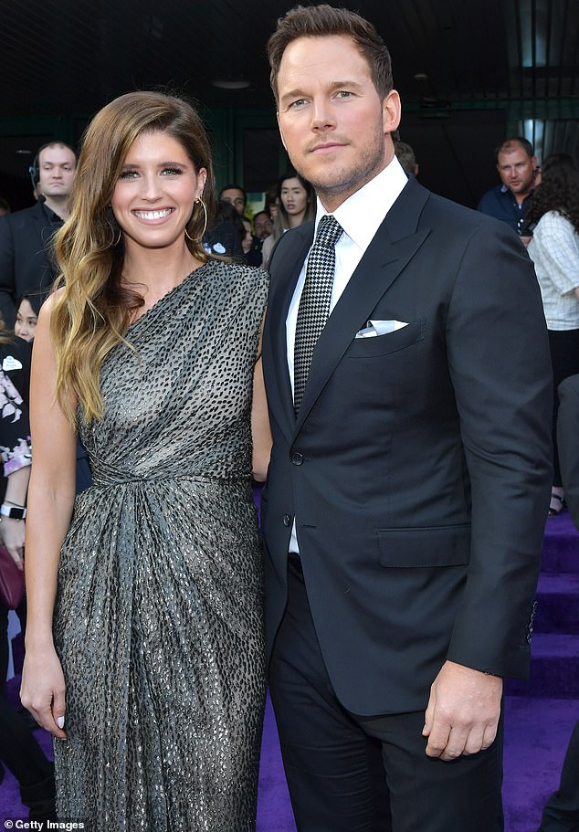 Sizzling: Katherine married Chris last year at Montecito's San Ysidro Ranch; they are pictured last April at the Los Angeles premiere of Avengers: Endgame