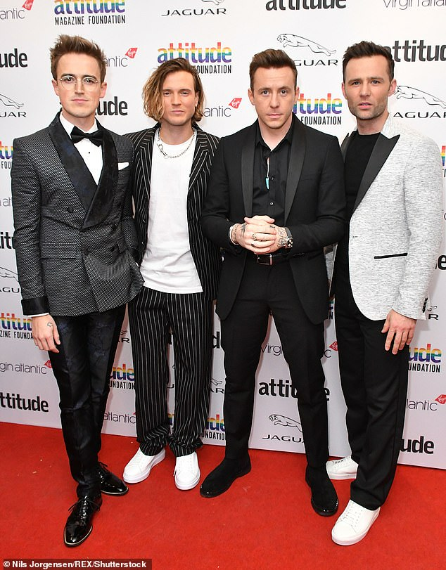 Memory loss: The bassist, 32, admitted his battle left him with huge memory gaps from 2016 to 2018 (pictured with McFly bandmates in 2019)