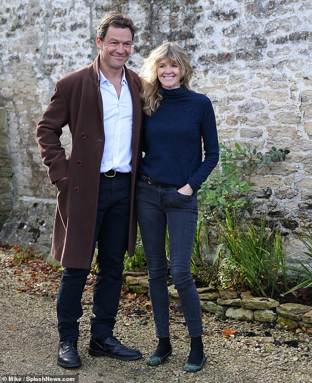 Gushing!Dominic West's mother-in-law Olda has shared a gushing tribute to the actor following his Lily James scandal (Dominic and wife Catherine pictured last month outside their family home putting on a united display)