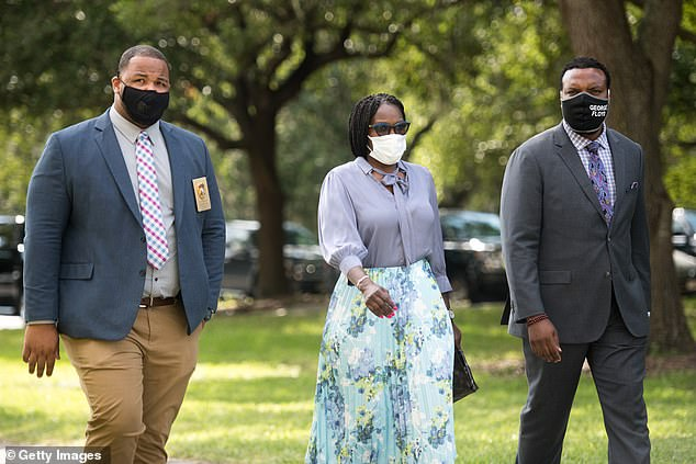 Wanda Cooper-Jones (center in July), mother of Ahmaud Arbery, gave an emotional victim impact statement where she pleaded with the court to deny the McMichaels' bond request