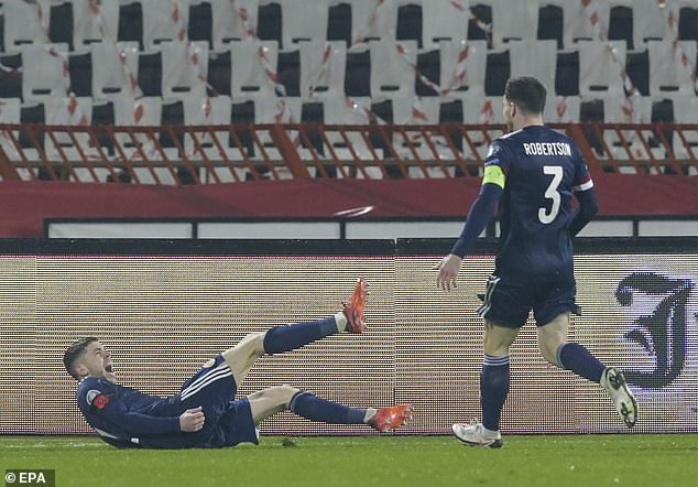 Ryan Christie (left) gave Scotland a 1-0 lead in Belgrade, but Serbia equalized at 90 minutes