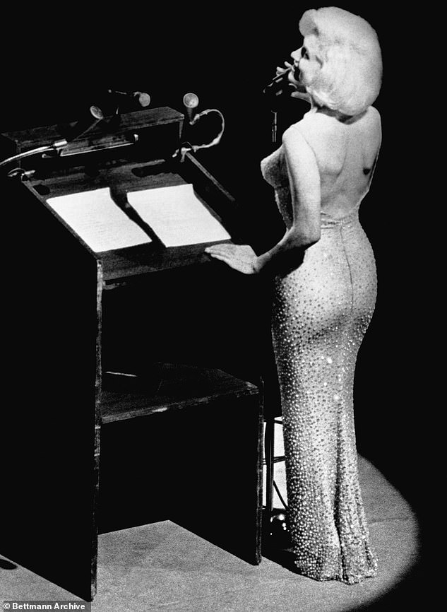 It was Kenneth who styled Marilyn Monroe (pictured) for her famous breathy 1962 'Happy Birthday, Mr President' serenade of JFK at Madison Square Garden, while wearing a dazzling gown of nude-coloured mesh, emblazoned with thousands of rhinestones