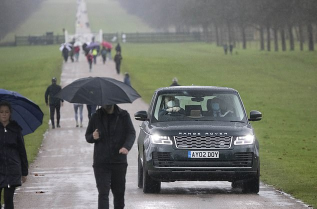 The Duke of York was seen driving through Windsor Great Park on Saturday in his Range Rover, accompanied by a security guard in the car.