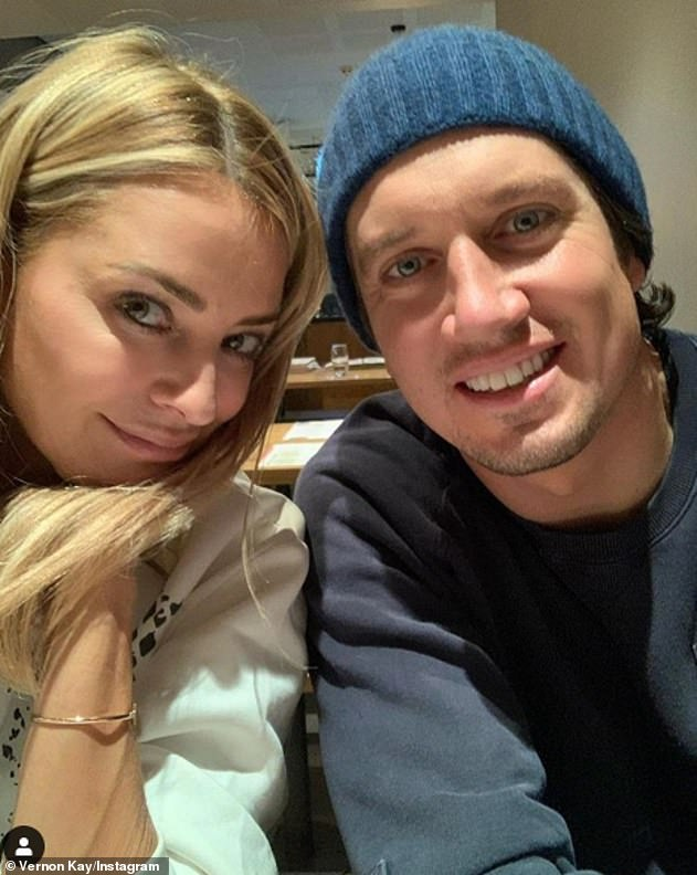 Sweet:Tess Daly has shared a snap of her last meal with husband Vernon Kay before he went into isolation for the hit ITV show