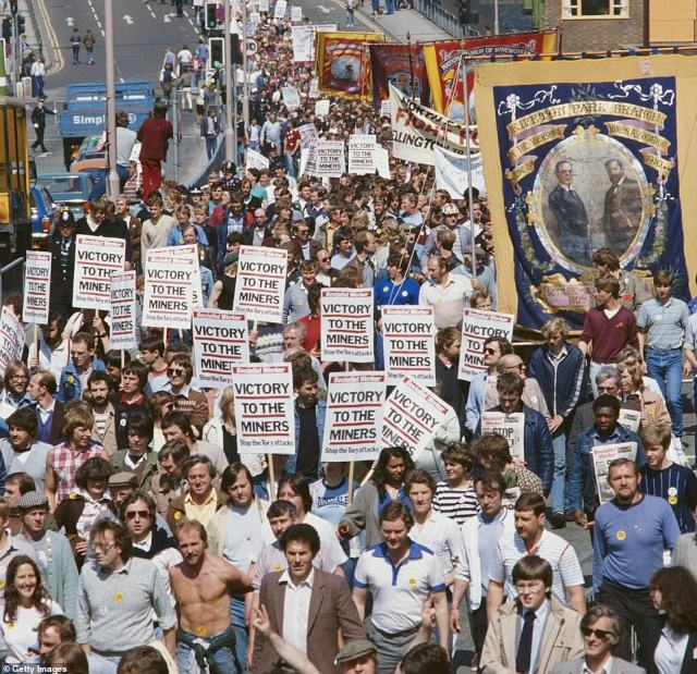 Upheaval:Despite being re-elected in 1983, Thatcher's greatest test came in 1984 when miners across the nation - led by NUM leader Arthur Scargil - went on strike to desperately try and prevent pits from being permanently closed