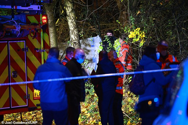 A police cordon was in place in the wooded area on Saturday night as police examined the scene