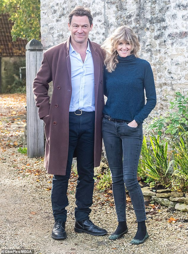 Dominic West, left, and his wife Catherine FitzGerald, right, in a show of unity outside their Cotswolds home, spoke to the media following speculation over the actor's relationship with his co-star Lily James