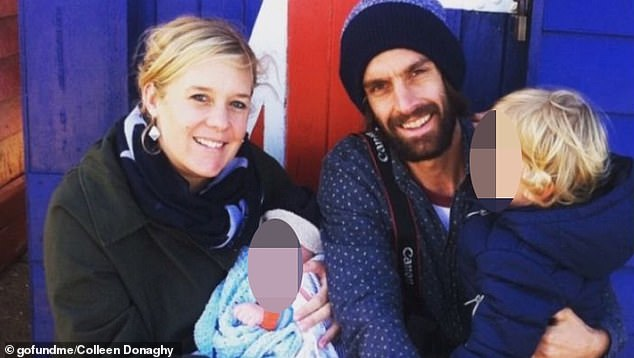 Two young brothers have been awarded $920,000 by one of the largest public health districts in the country after their mother died from a brain seizure (pictured, Lauren Brooks with her partner Chris Percy and their two sons Alfie and Sonny)