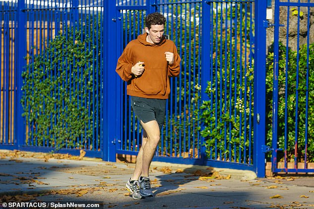 Exercise:The actor, 30, cut a casual figure as he got some fresh air during England's second coronavirus lockdown