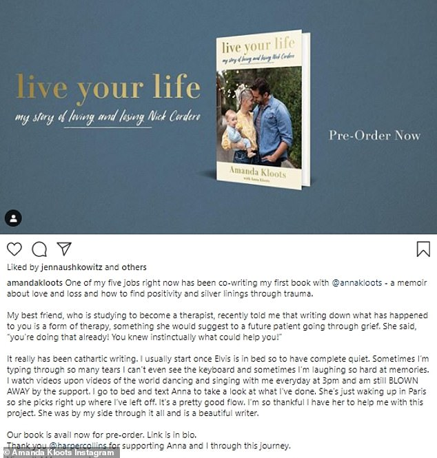 The post comes one day after Amanda announced the impending publication of her memoir, entitled Live Your Life: My Story of Loving and Losing Nick Cordero