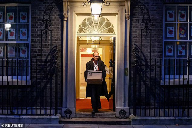 Friends of Dominic Cummings (pictured leaving No10 on Friday) and Lee Cain, the Vote Leave duo who were forced to resign last week after losing a power struggle with the Prime Minister's fiancee, say that they have questioned Mr Johnson's ability – and desire – to stay in No 10