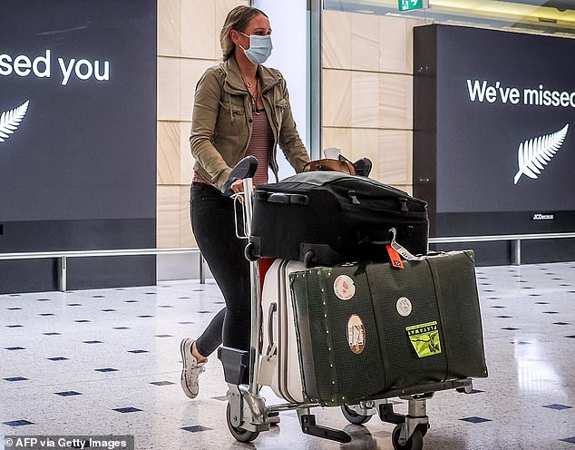 A passenger wearing a face mask arrives from New Zealand at Sydney International Airport on October 16. Mr Tehan said Australia had become 'a victim of its own success' at handling the COVID-19 crisis in terms of its citizens struggling to come home