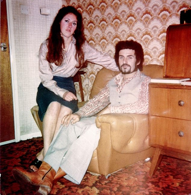 Devoted: Sonia poses for a photo with Peter Sutcliffe in late 1980. She first met Sutcliffe at a pub disco in the Royal Standard in Bradford's red light district in 1966. A year later they were engaged. They married on August 10, 1974