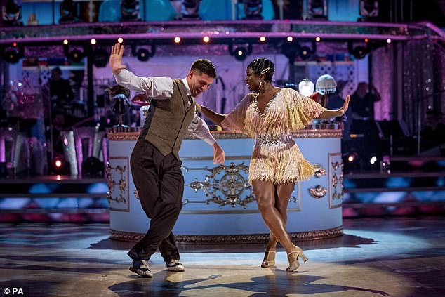 Radio presenter Clara Amfo and partner Aljaz Skorjanec (pictured) topped the leaderboard last night, with a score of 29 for their Charleston to Baby Face by Julie Andrews