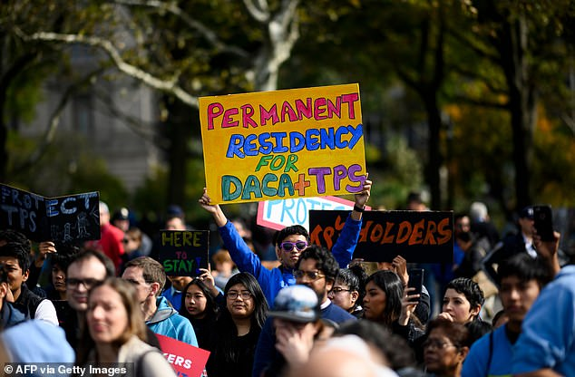 """People take part in a kick of rally of the """"Home Is Here"""" March for DACA and TPS on October 26, 2019 in New York City"""
