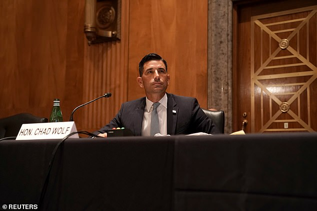 A federal judge in New York CIty ruled that Chad Wolf (pictured) was 'not lawfully serving' asacting Homeland Security Secretary when he issued the WolfMemorandum