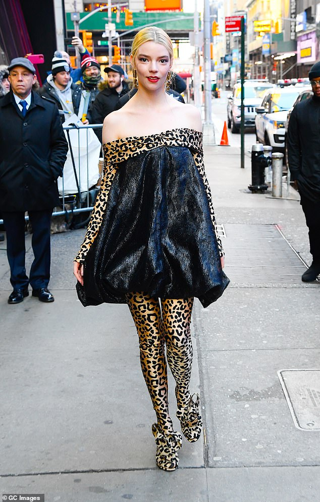 Actress Anya Taylor-Joy is seen outside Good Morning America on February 17, 2020