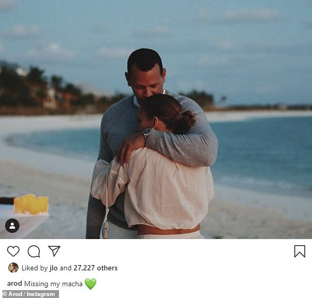 'Missing my macha': The sighting comes as her fiancé Alex Rodriguez posted a wistful image on Saturday of the pair embracing on his Instagram