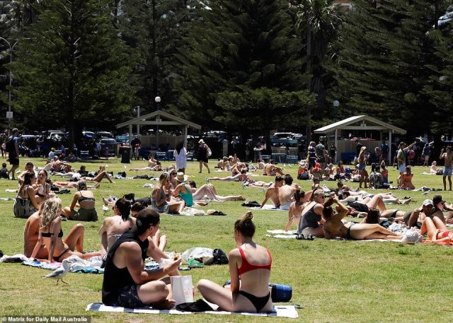 Other Coogee beachgoers gathered on the nearby grass to sunbake and enjoy picnics