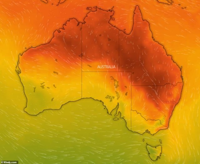Many parts of Australia will see temperatures soar on Monday. The places shaded in orange and red will feel the heat the most