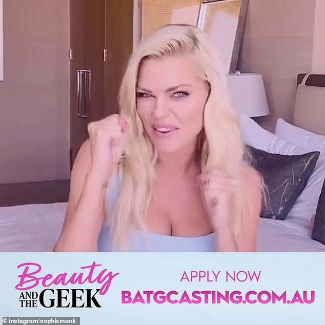 'We all know opposites attract!' Sophie Monk, 40, (pictured) encouraged her fans to sign up for Beauty and the Geek on Sunday - as she gears up to host the Channel nine reboot