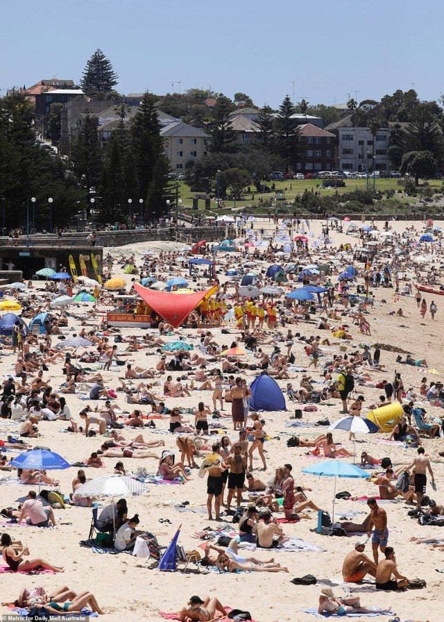 Coogee Beach was packed to the rafters on Sunday as Sydneysider flocked to the beach to soak up the glorious sunshine