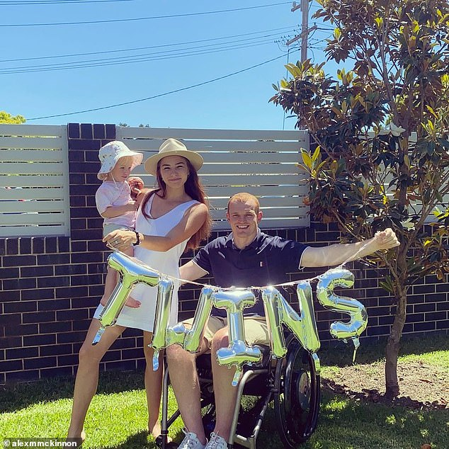 Former footy star Alex McKinnon and his wife Teigan (pictured with daughter Harriet) are expecting twins in 2021